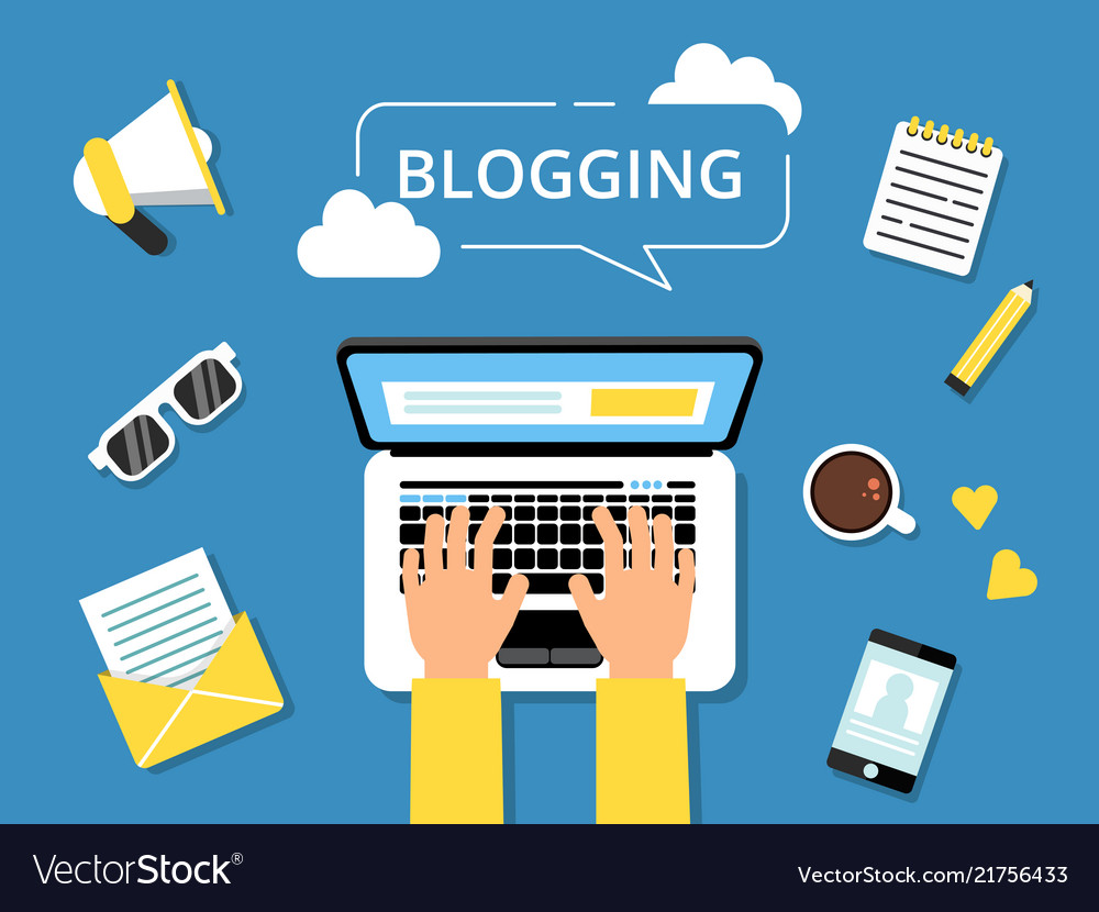 Blogging concept picture. Hands on laptop and various tools for writers around. Writer laptop blog, content on computer. Vector illustration